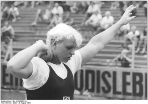 After GDR's Ilona Slupianek tested positive for anabolic steroids at the European Cup in 1977, the GDR began testing all athletes prior to competition to ensure they would not be caught, (Photo: Deutsches Bundesarchiv)