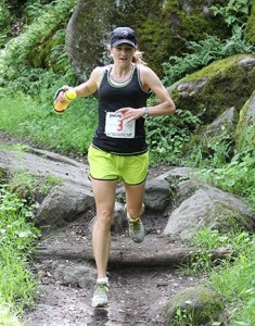 Second woman finisher Tera Dube navigates the trails. (Photo by Sean Dulany/Freeplay Magazine)