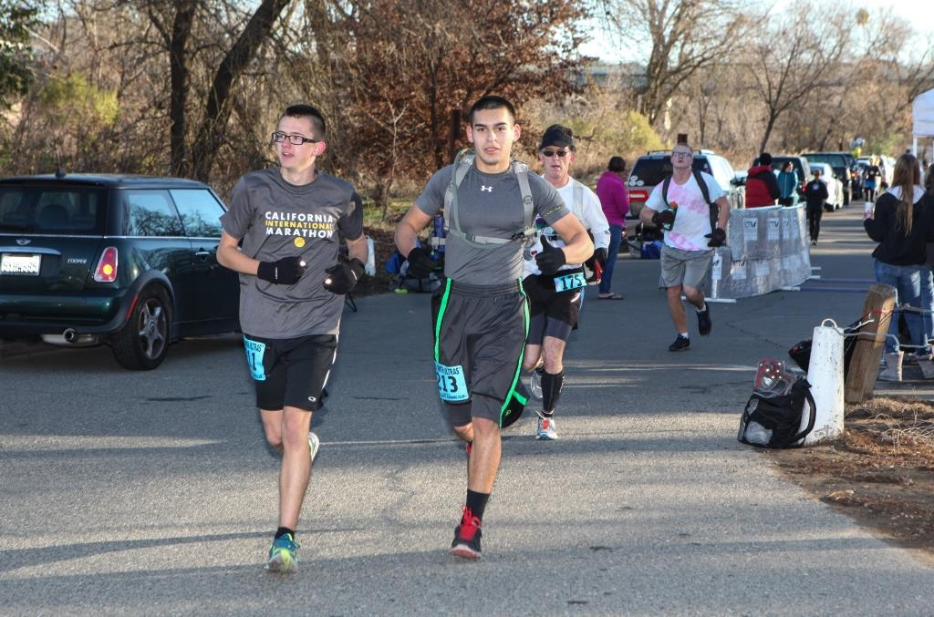 Christian Watt (left) and Alfred Martinez were the only under-18 finishers in the 50 km. (Photo by Joe McCladdie)