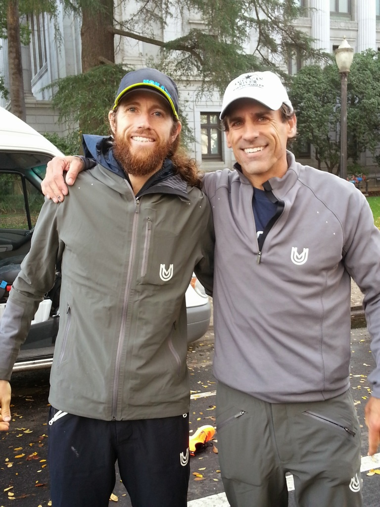 Michael Wardian (bearded) and Rich Hanna after the race. Wardian ran 2:33 the day after racing The North Face 50 Mile, and Hanna ran 2:36, which is a new M50 course record. (SRN photo)