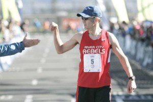 Mason Myers deserved a fist bump for his masters win in 2:41:26.