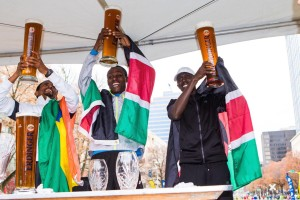 To the winners go the non-alcoholic beers. (L-R Dereje Abera Ali, Julius Keter, Elisha Barno)